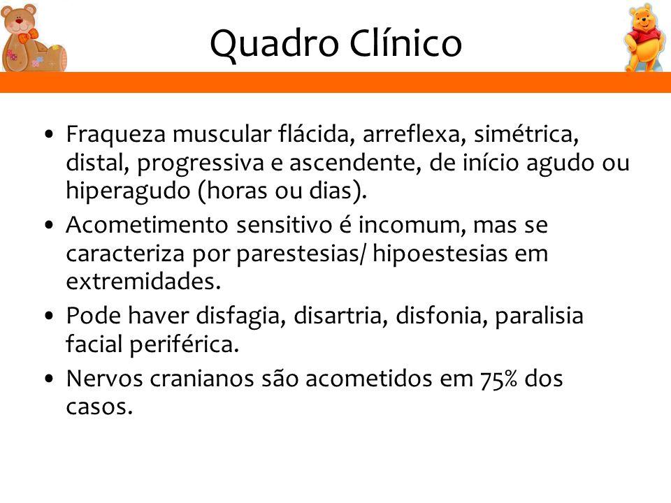 Quadro Clínico Fraqueza muscular flácida, arreflexa, simétrica, distal, progressiva e ascendente, de início agudo ou hiperagudo (horas ou dias). Acome