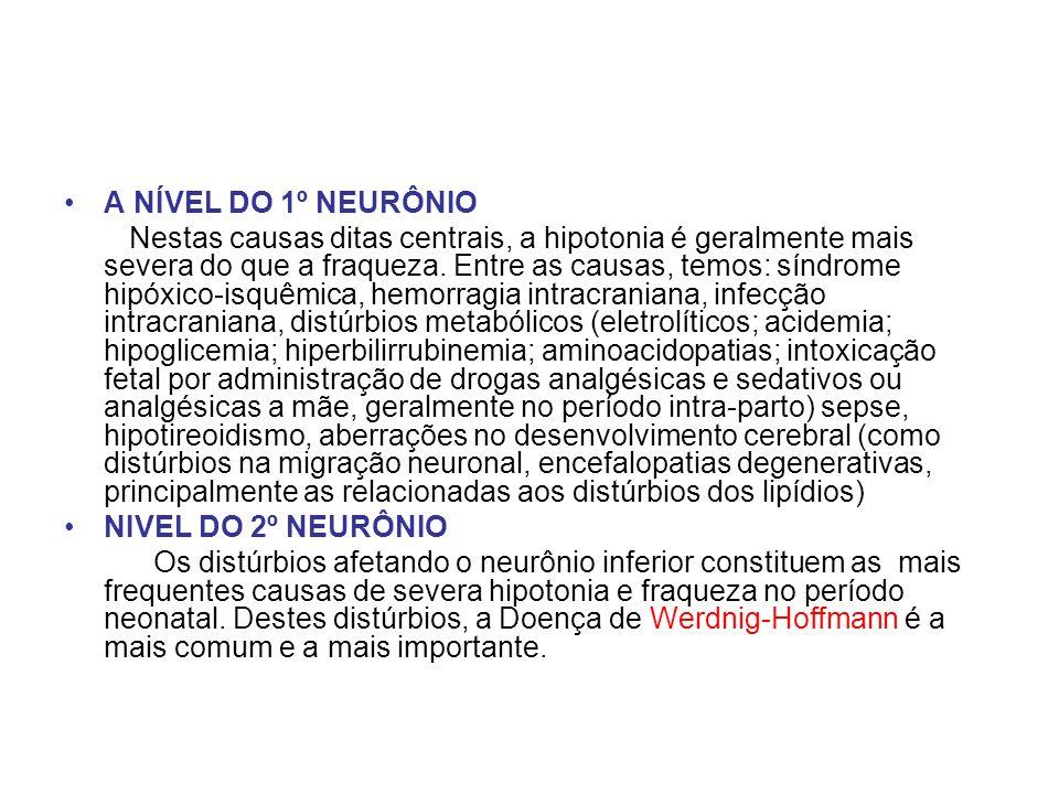 A NÍVEL DO 1º NEURÔNIO Nestas causas ditas centrais, a hipotonia é geralmente mais severa do que a fraqueza. Entre as causas, temos: síndrome hipóxico