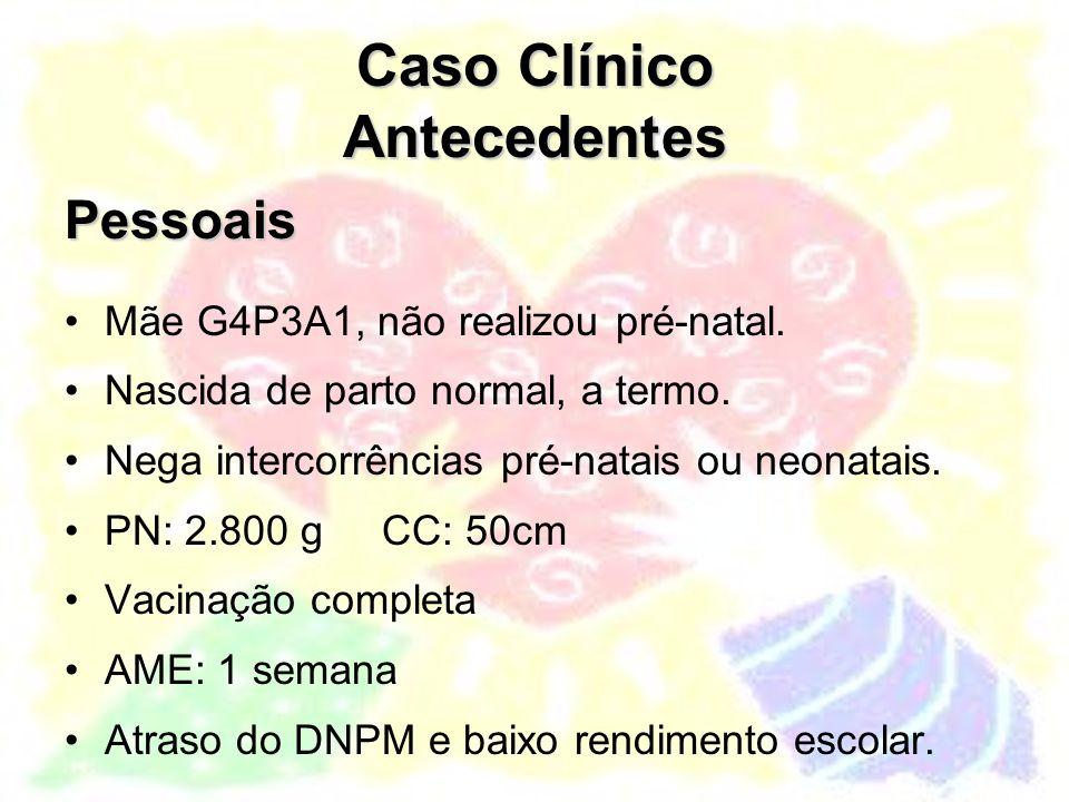 Caso Clínico Antecedentes Patológicos Nosologias: T 4 F diagnosticada no 1º mês de vida Inúmeras crises de cianose, associadas ao esforço, com síncope Dispnéia aos pequenos esforços.
