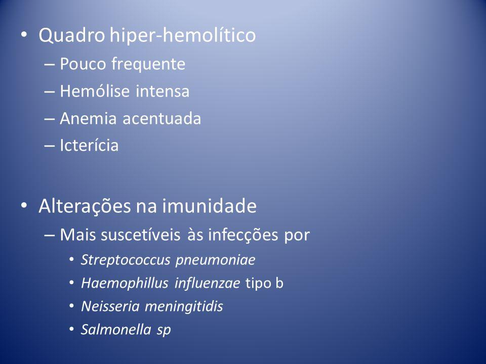 Quadro hiper-hemolítico – Pouco frequente – Hemólise intensa – Anemia acentuada – Icterícia Alterações na imunidade – Mais suscetíveis às infecções po