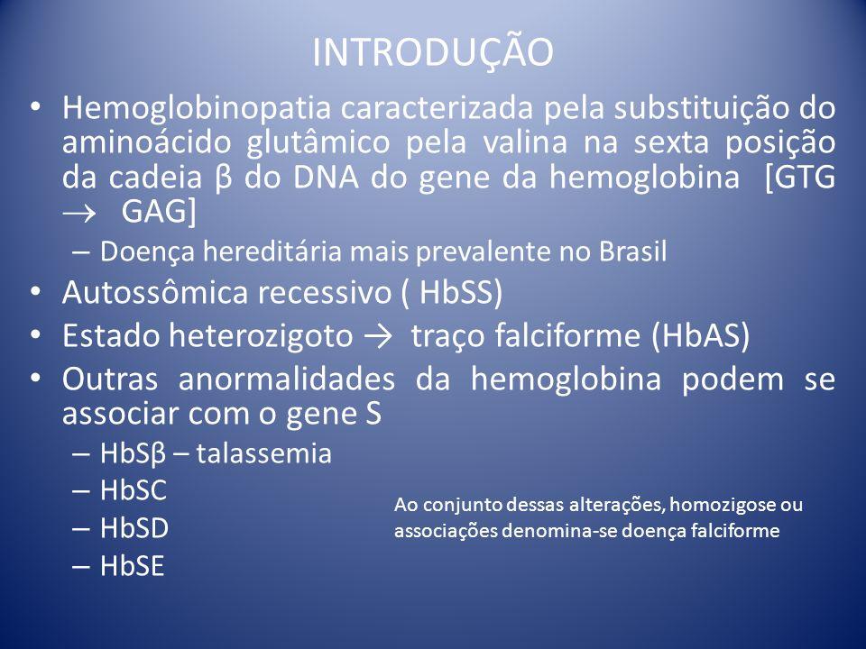 INTRODUÇÃO Hemoglobinopatia caracterizada pela substituição do aminoácido glutâmico pela valina na sexta posição da cadeia β do DNA do gene da hemoglo