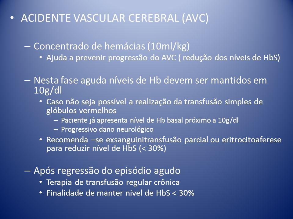 ACIDENTE VASCULAR CEREBRAL (AVC) – Concentrado de hemácias (10ml/kg) Ajuda a prevenir progressão do AVC ( redução dos níveis de HbS) – Nesta fase agud