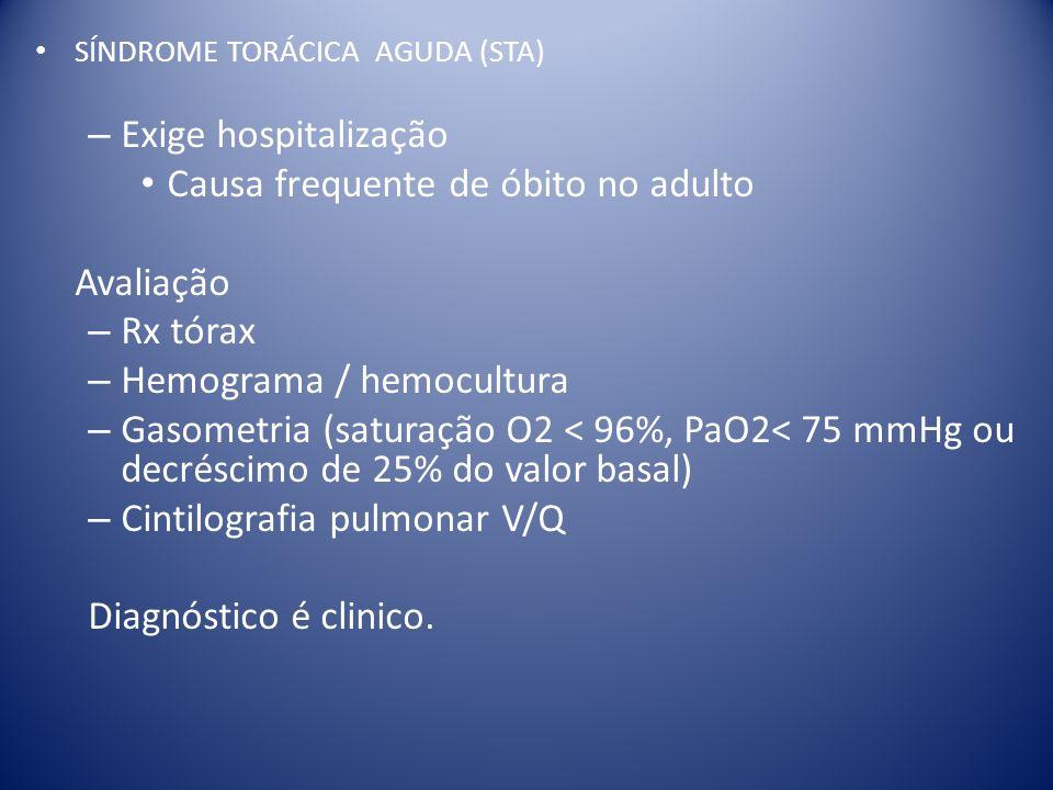 SÍNDROME TORÁCICA AGUDA (STA) – Exige hospitalização Causa frequente de óbito no adulto Avaliação – Rx tórax – Hemograma / hemocultura – Gasometria (s