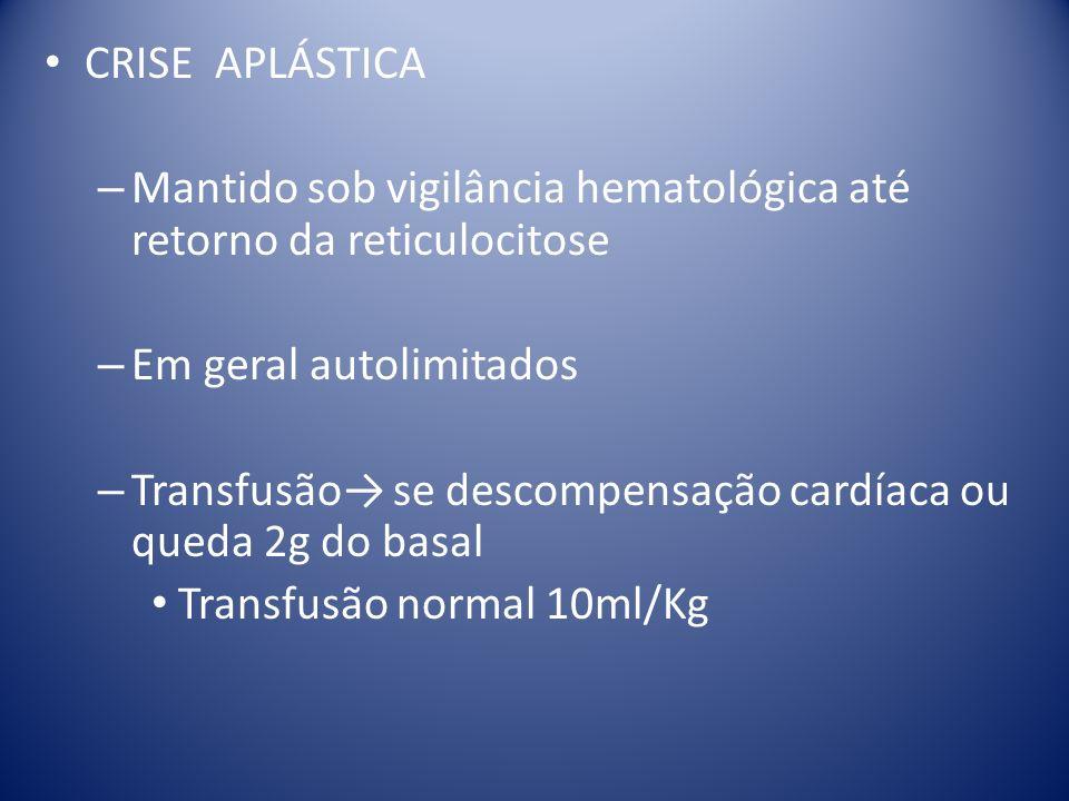 CRISE APLÁSTICA – Mantido sob vigilância hematológica até retorno da reticulocitose – Em geral autolimitados – Transfusão se descompensação cardíaca o