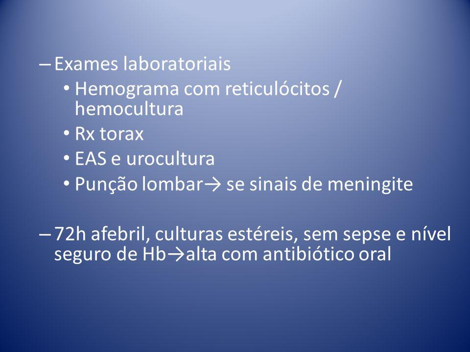 – Exames laboratoriais Hemograma com reticulócitos / hemocultura Rx torax EAS e urocultura Punção lombar se sinais de meningite – 72h afebril, cultura