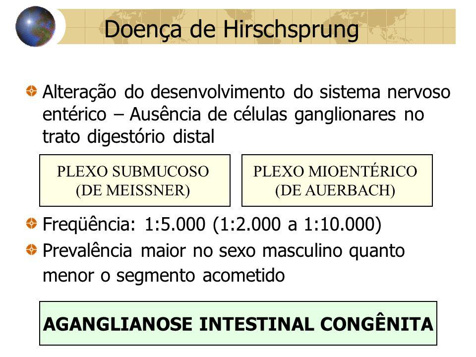 Doença de Hirschsprung Alteração do desenvolvimento do sistema nervoso entérico – Ausência de células ganglionares no trato digestório distal Freqüência: 1:5.000 (1:2.000 a 1:10.000) Prevalência maior no sexo masculino quanto menor o segmento acometido PLEXO SUBMUCOSO (DE MEISSNER) PLEXO MIOENTÉRICO (DE AUERBACH) AGANGLIANOSE INTESTINAL CONGÊNITA