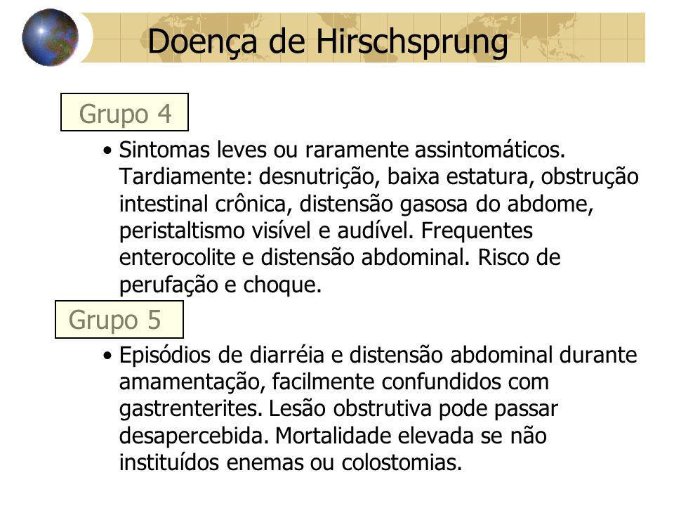 Doença de Hirschsprung Grupo 4 Sintomas leves ou raramente assintomáticos.