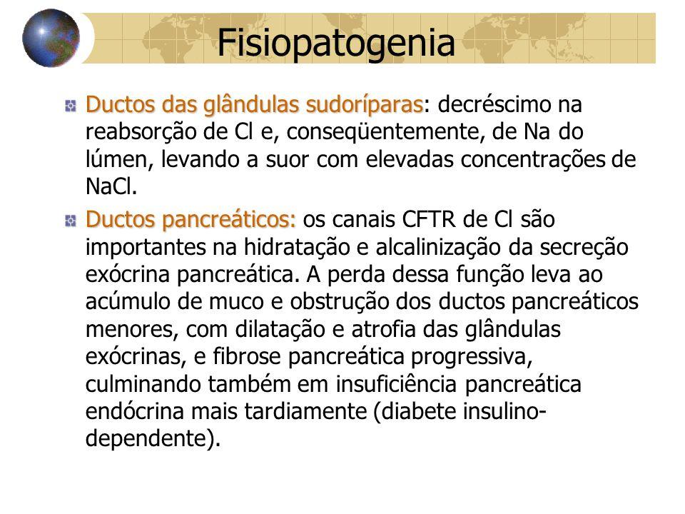 Fisiopatogenia Ductos das glândulas sudoríparas Ductos das glândulas sudoríparas: decréscimo na reabsorção de Cl e, conseqüentemente, de Na do lúmen, levando a suor com elevadas concentrações de NaCl.