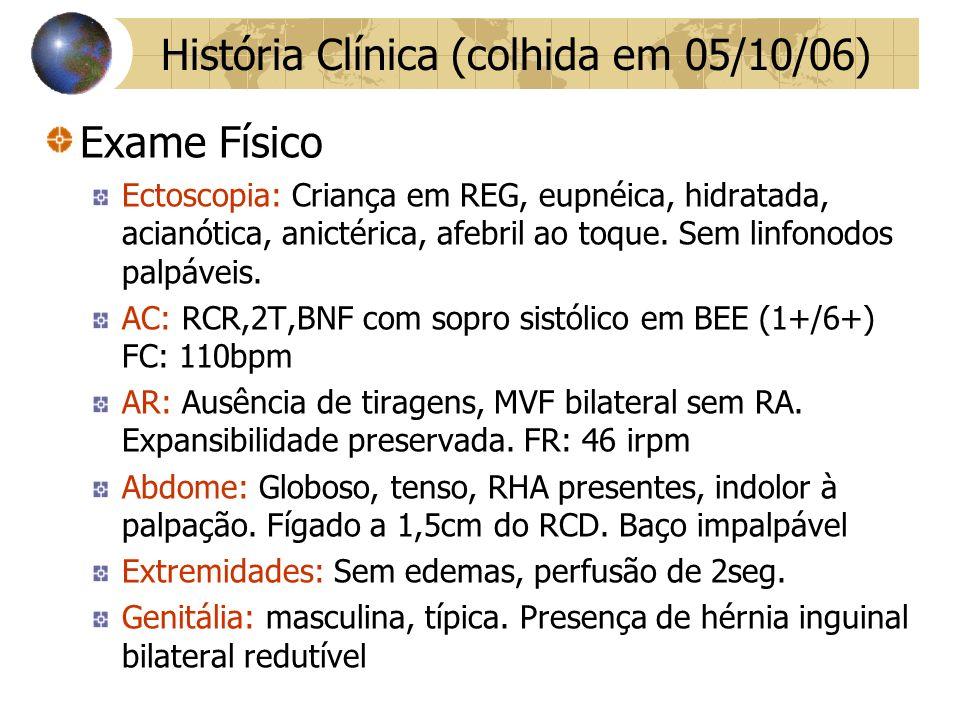 Exame Físico Ectoscopia: Criança em REG, eupnéica, hidratada, acianótica, anictérica, afebril ao toque.