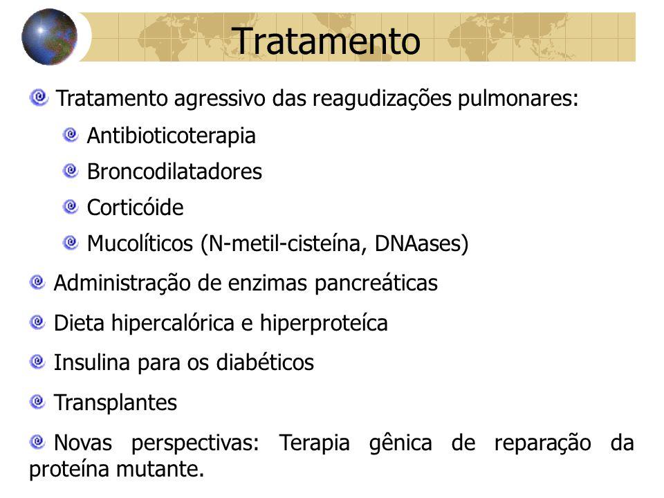 Tratamento Tratamento agressivo das reagudizações pulmonares: Antibioticoterapia Broncodilatadores Corticóide Mucolíticos (N-metil-cisteína, DNAases) Administração de enzimas pancreáticas Dieta hipercalórica e hiperproteíca Insulina para os diabéticos Transplantes Novas perspectivas: Terapia gênica de reparação da proteína mutante.