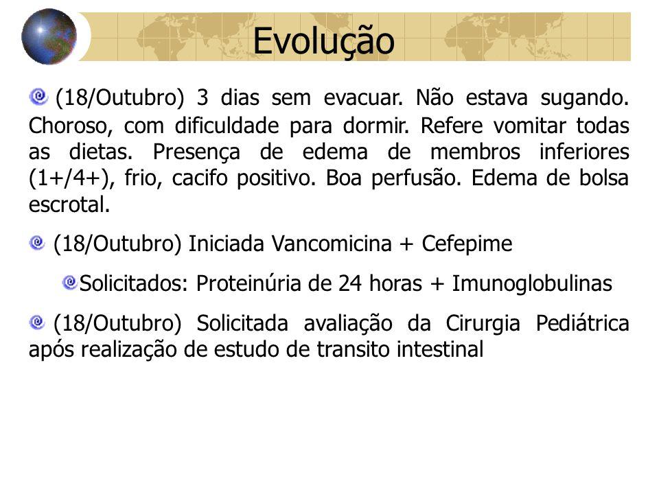 Evolução (18/Outubro) 3 dias sem evacuar.Não estava sugando.
