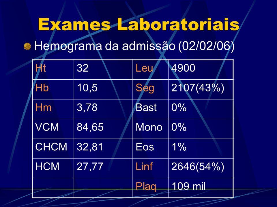 Exames Laboratoriais Hemograma da admissão (02/02/06) Ht32Leu4900 Hb10,5Seg2107(43%) Hm3,78Bast0% VCM84,65Mono0% CHCM32,81Eos1% HCM27,77Linf2646(54%)