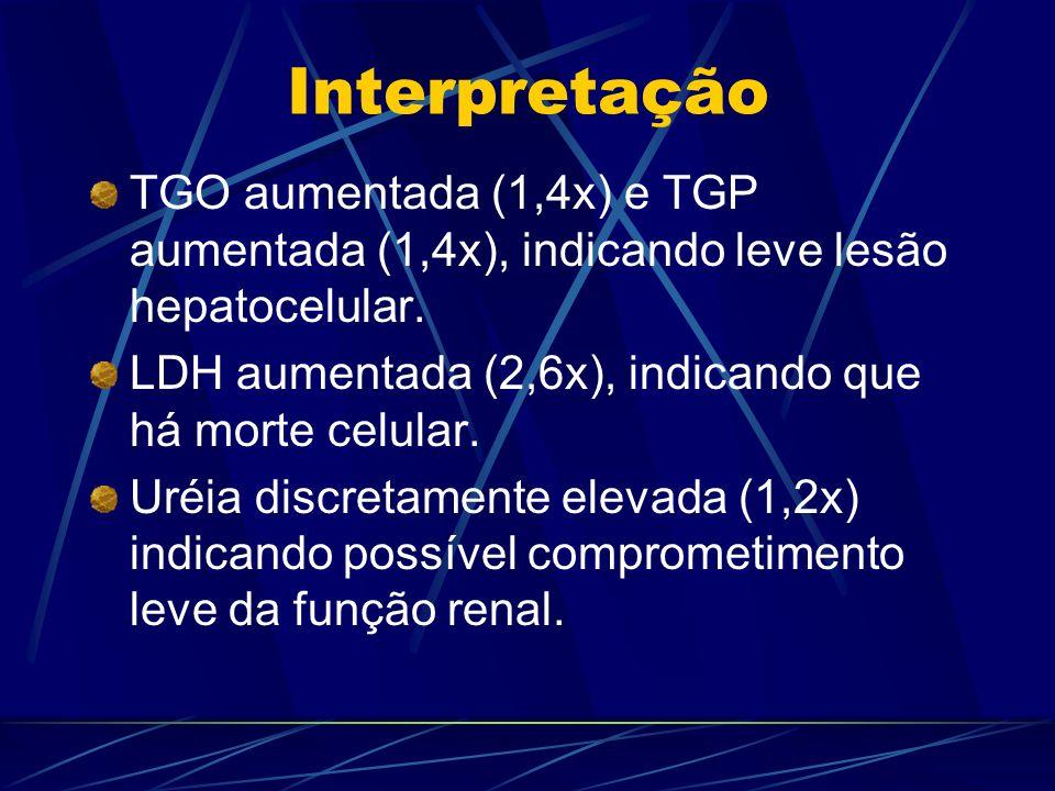 Interpretação TGO aumentada (1,4x) e TGP aumentada (1,4x), indicando leve lesão hepatocelular. LDH aumentada (2,6x), indicando que há morte celular. U
