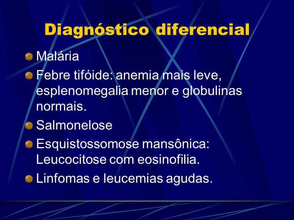 Diagnóstico diferencial Malária Febre tifóide: anemia mais leve, esplenomegalia menor e globulinas normais. Salmonelose Esquistossomose mansônica: Leu