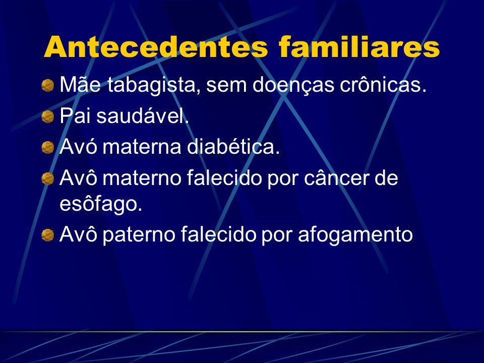 Antecedentes familiares Mãe tabagista, sem doenças crônicas. Pai saudável. Avó materna diabética. Avô materno falecido por câncer de esôfago. Avô pate