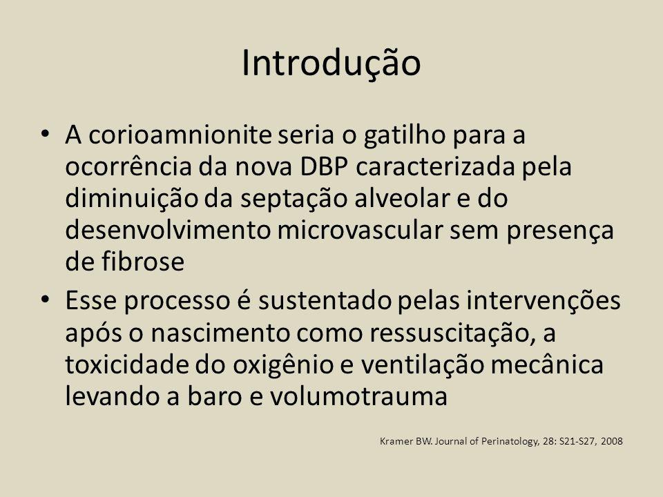 Introdução A corioamnionite seria o gatilho para a ocorrência da nova DBP caracterizada pela diminuição da septação alveolar e do desenvolvimento micr