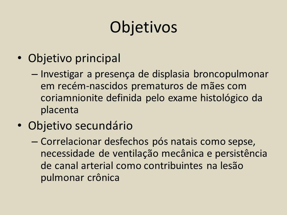 Objetivos Objetivo principal – Investigar a presença de displasia broncopulmonar em recém-nascidos prematuros de mães com coriamnionite definida pelo