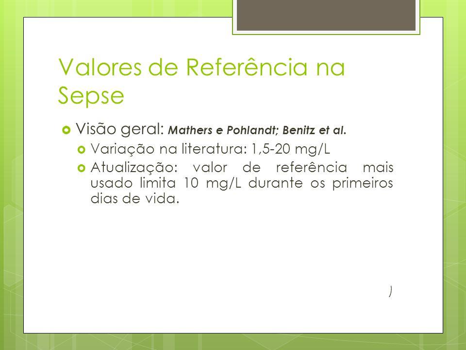 Valores de Referência na Sepse Visão geral: Mathers e Pohlandt; Benitz et al. Variação na literatura: 1,5-20 mg/L Atualização: valor de referência mai