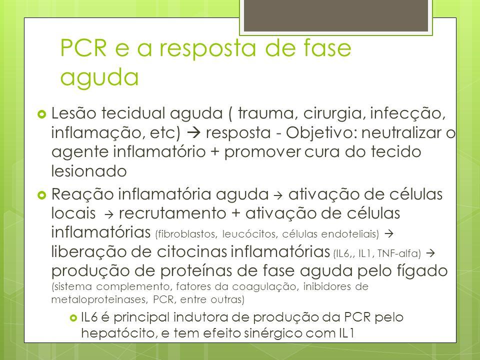 PCR e a resposta de fase aguda Lesão tecidual aguda ( trauma, cirurgia, infecção, inflamação, etc) resposta - Objetivo: neutralizar o agente inflamató