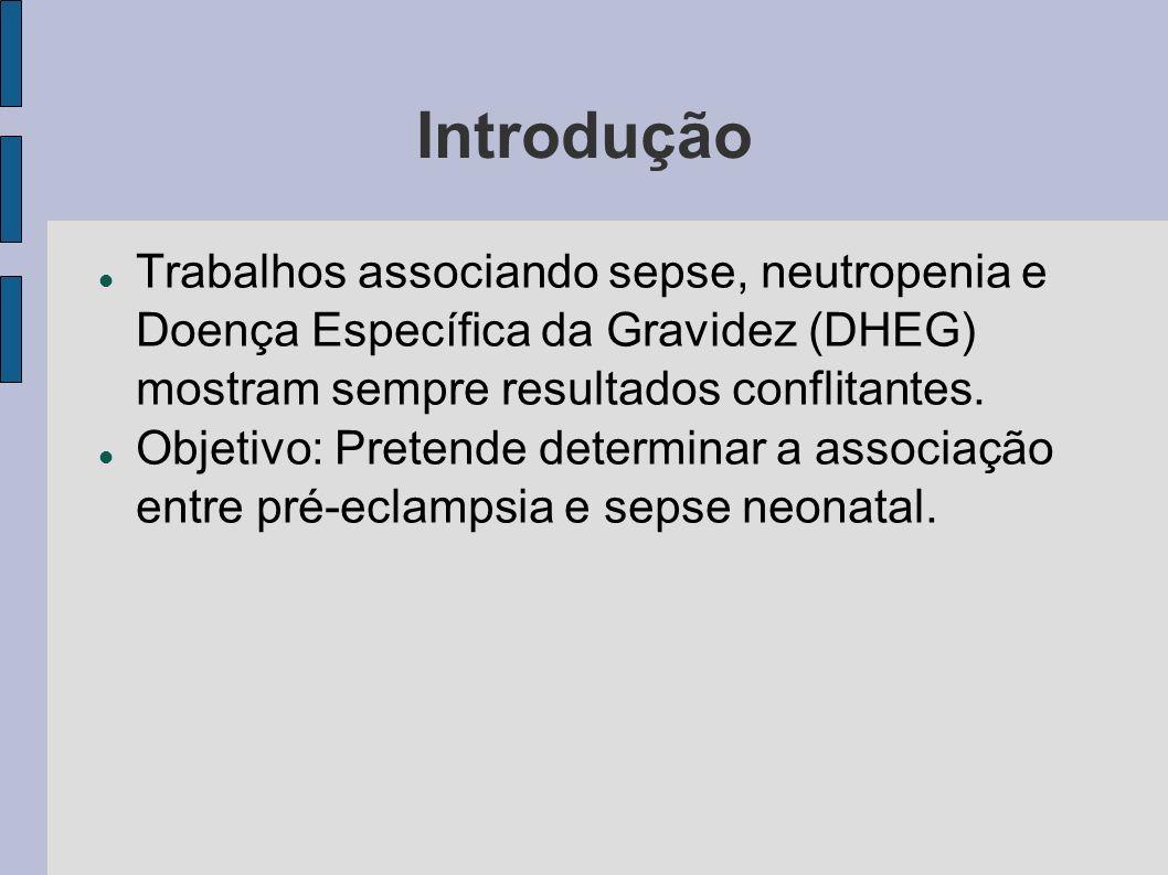 Introdução Trabalhos associando sepse, neutropenia e Doença Específica da Gravidez (DHEG) mostram sempre resultados conflitantes. Objetivo: Pretende d
