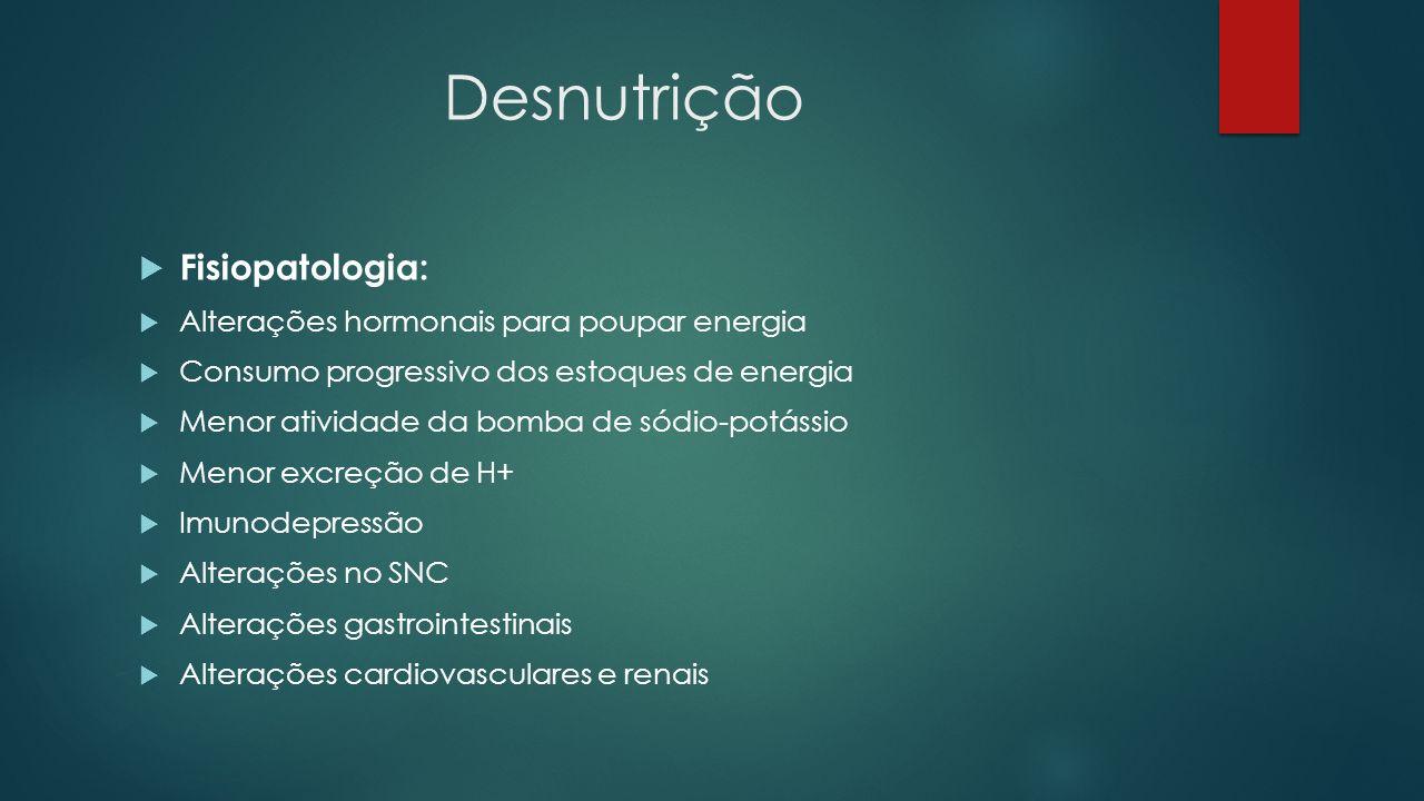 Desnutrição Fisiopatologia: Alterações hormonais para poupar energia Consumo progressivo dos estoques de energia Menor atividade da bomba de sódio-pot