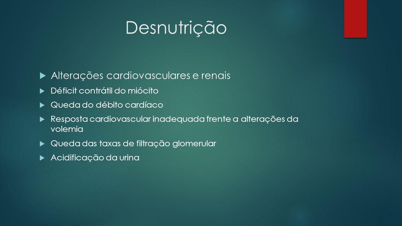 Desnutrição Alterações cardiovasculares e renais Déficit contrátil do miócito Queda do débito cardíaco Resposta cardiovascular inadequada frente a alt