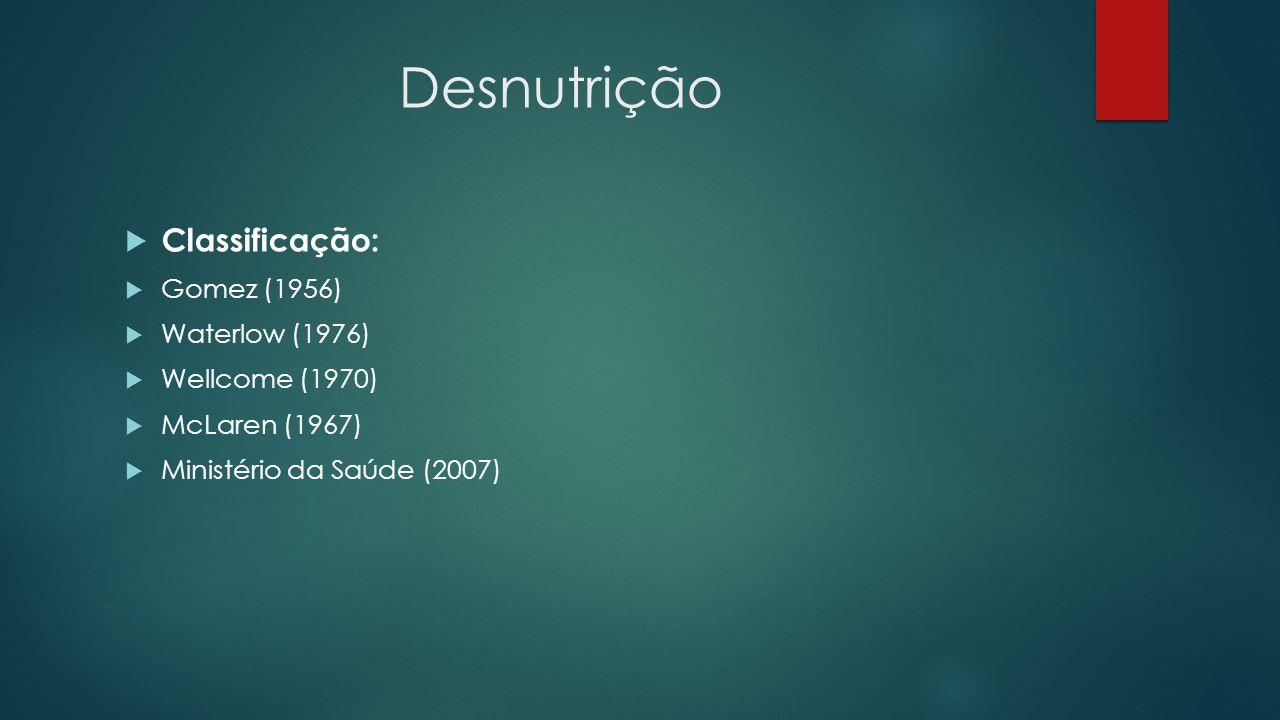 Desnutrição Classificação: Gomez (1956) Waterlow (1976) Wellcome (1970) McLaren (1967) Ministério da Saúde (2007)