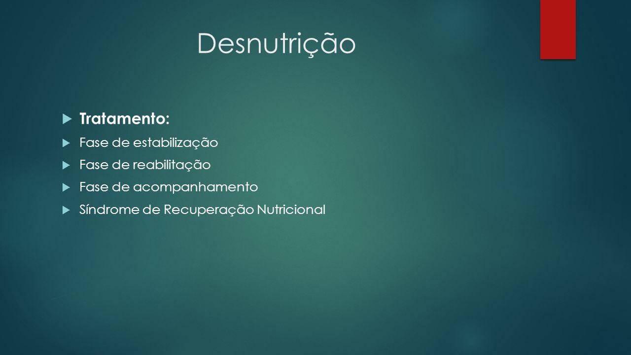 Desnutrição Tratamento: Fase de estabilização Fase de reabilitação Fase de acompanhamento Síndrome de Recuperação Nutricional