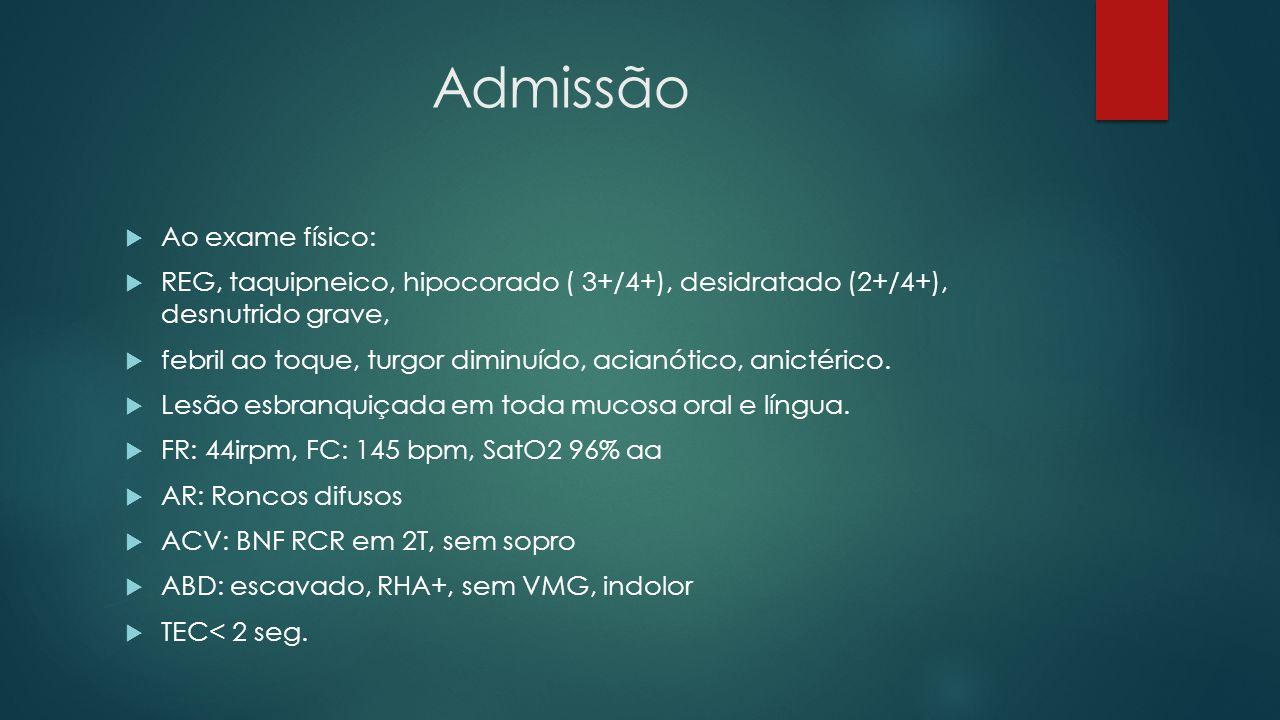Admissão Ao exame físico: REG, taquipneico, hipocorado ( 3+/4+), desidratado (2+/4+), desnutrido grave, febril ao toque, turgor diminuído, acianótico,