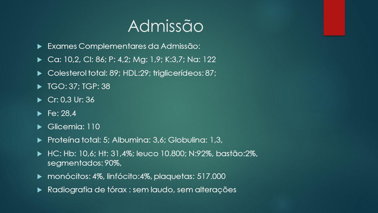 Admissão Exames Complementares da Admissão: Ca: 10,2, Cl: 86; P: 4,2; Mg: 1,9; K:3,7; Na: 122 Colesterol total: 89; HDL:29; triglicerídeos: 87; TGO: 3