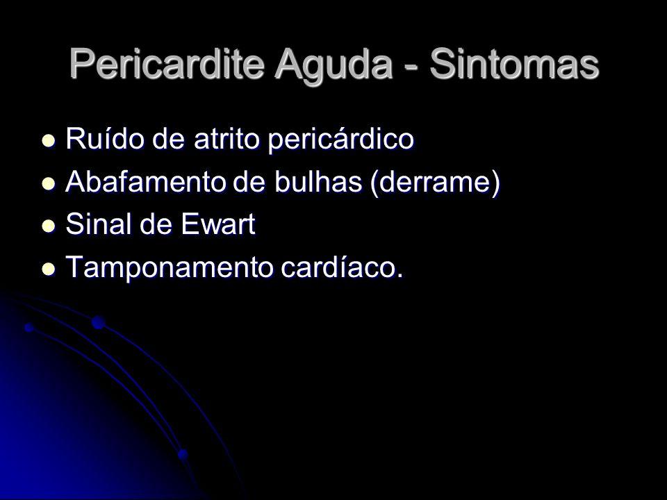 Pericardite Aguda - Sintomas Ruído de atrito pericárdico Ruído de atrito pericárdico Abafamento de bulhas (derrame) Abafamento de bulhas (derrame) Sin