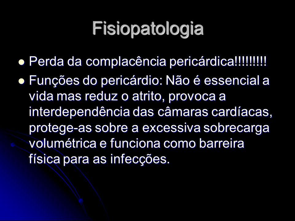 Fisiopatologia Perda da complacência pericárdica!!!!!!!!! Perda da complacência pericárdica!!!!!!!!! Funções do pericárdio: Não é essencial a vida mas