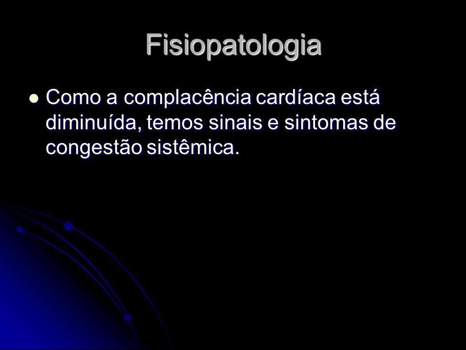 Fisiopatologia Como a complacência cardíaca está diminuída, temos sinais e sintomas de congestão sistêmica. Como a complacência cardíaca está diminuíd