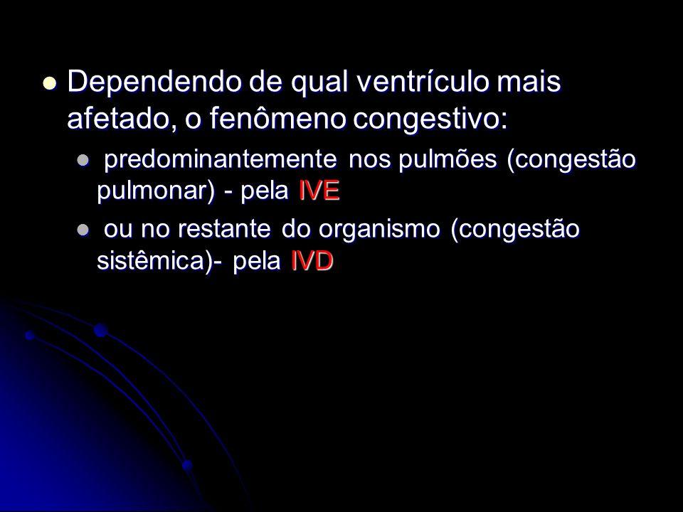 Dependendo de qual ventrículo mais afetado, o fenômeno congestivo: Dependendo de qual ventrículo mais afetado, o fenômeno congestivo: predominantement