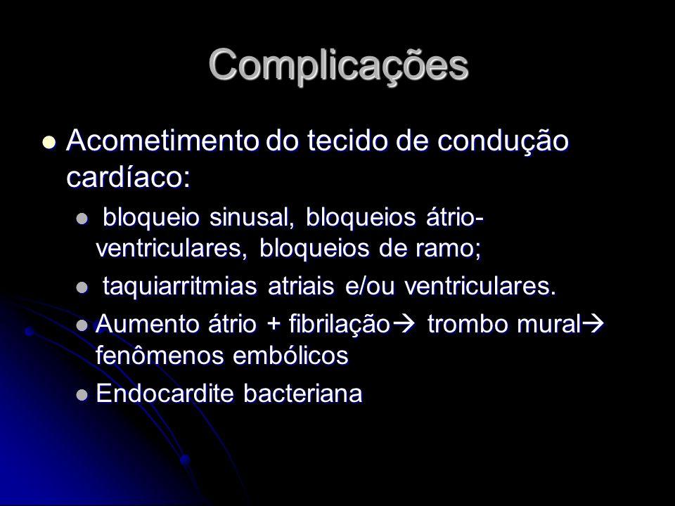 Complicações Acometimento do tecido de condução cardíaco: Acometimento do tecido de condução cardíaco: bloqueio sinusal, bloqueios átrio- ventriculare
