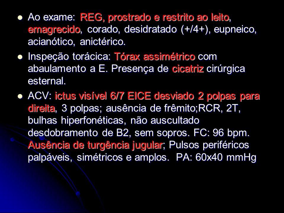 Ao exame: REG, prostrado e restrito ao leito, emagrecido, corado, desidratado (+/4+), eupneico, acianótico, anictérico. Ao exame: REG, prostrado e res