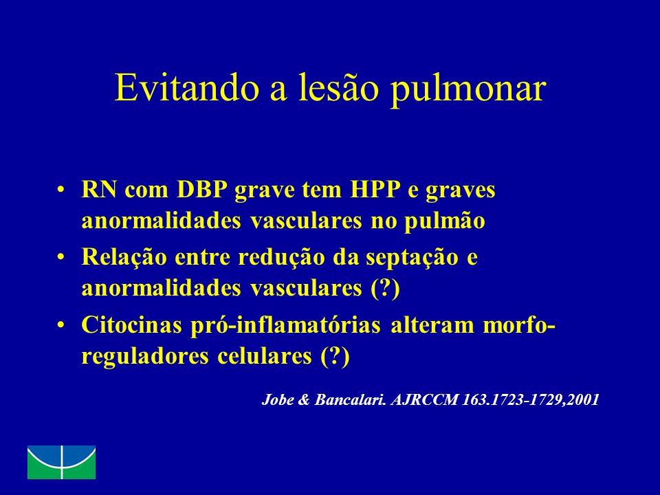 Evitando a lesão pulmonar RN com DBP grave tem HPP e graves anormalidades vasculares no pulmão Relação entre redução da septação e anormalidades vascu