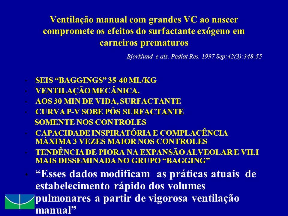 Ventilação manual com grandes VC ao nascer compromete os efeitos do surfactante exógeno em carneiros prematuros Bjorklund e als. Pediat Res. 1997 Sep;
