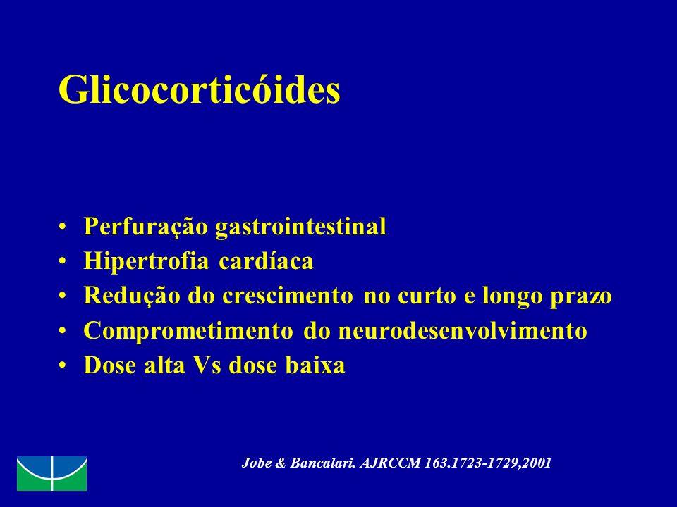 Glicocorticóides Perfuração gastrointestinal Hipertrofia cardíaca Redução do crescimento no curto e longo prazo Comprometimento do neurodesenvolviment