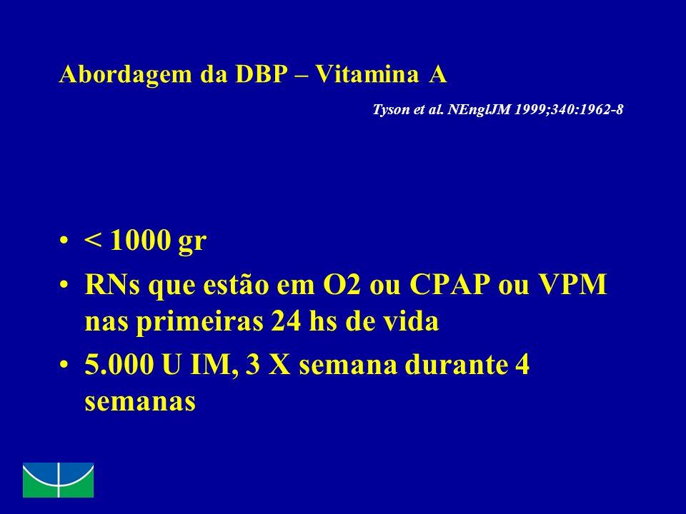 Abordagem da DBP – Vitamina A Tyson et al. NEnglJM 1999;340:1962-8 < 1000 gr RNs que estão em O2 ou CPAP ou VPM nas primeiras 24 hs de vida 5.000 U IM