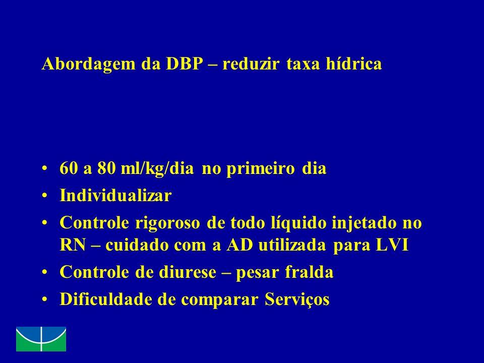 Abordagem da DBP – reduzir taxa hídrica 60 a 80 ml/kg/dia no primeiro dia Individualizar Controle rigoroso de todo líquido injetado no RN – cuidado co