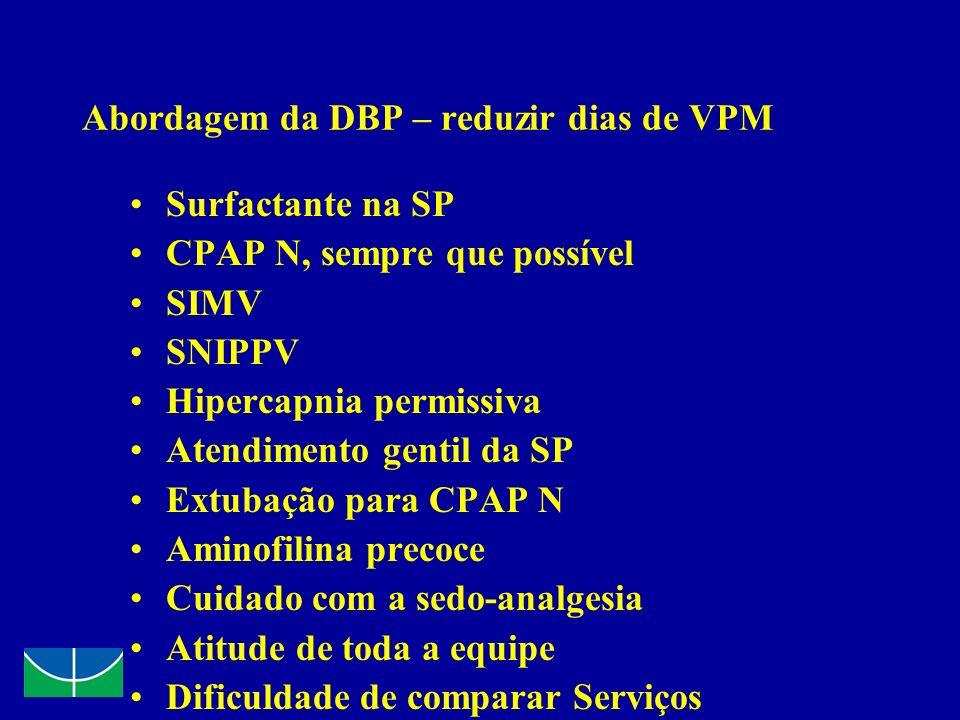 Abordagem da DBP – reduzir dias de VPM Surfactante na SP CPAP N, sempre que possível SIMV SNIPPV Hipercapnia permissiva Atendimento gentil da SP Extub