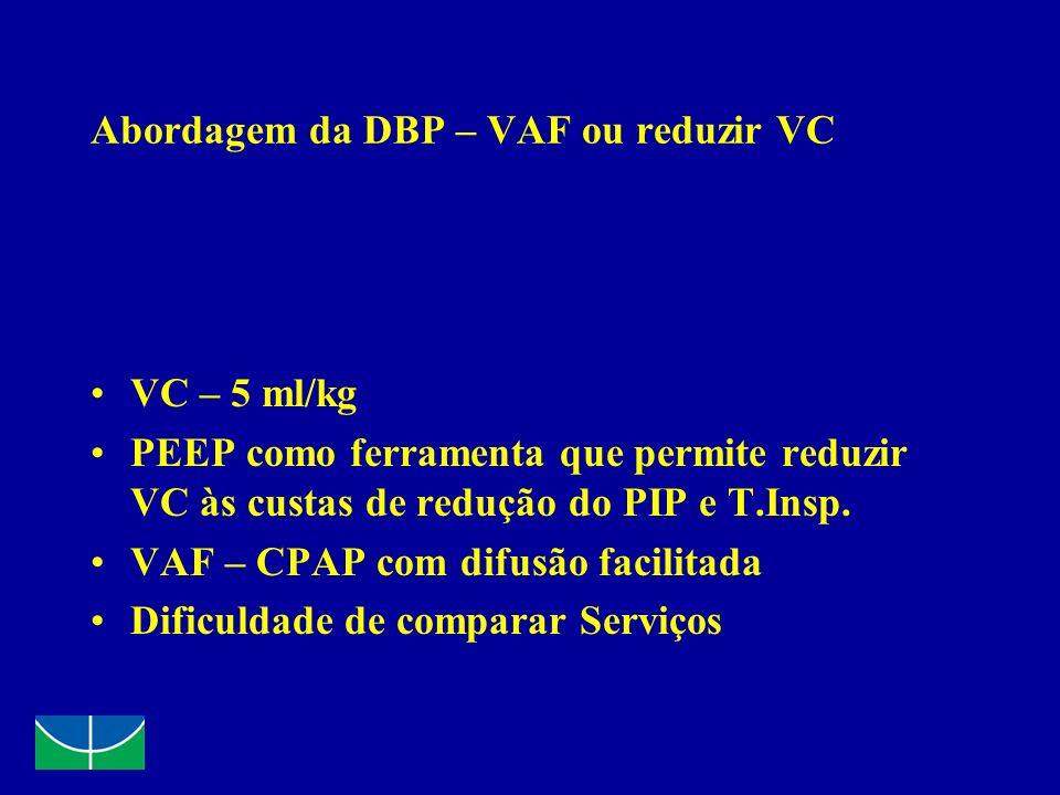 Abordagem da DBP – VAF ou reduzir VC VC – 5 ml/kg PEEP como ferramenta que permite reduzir VC às custas de redução do PIP e T.Insp. VAF – CPAP com dif