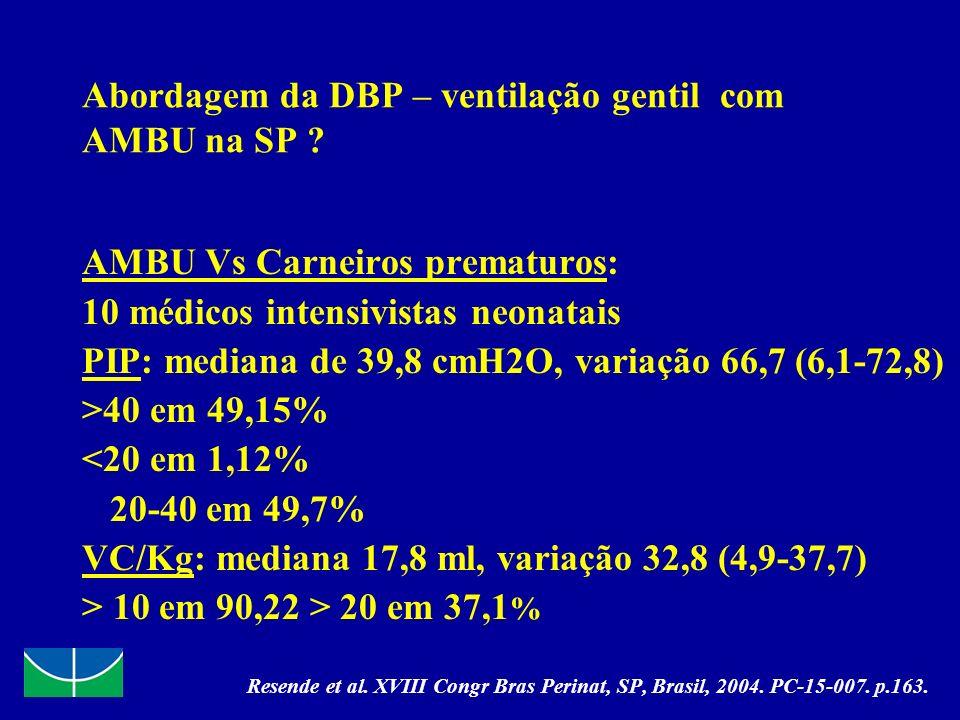 Abordagem da DBP – ventilação gentil com AMBU na SP ? AMBU Vs Carneiros prematuros: 10 médicos intensivistas neonatais PIP: mediana de 39,8 cmH2O, var
