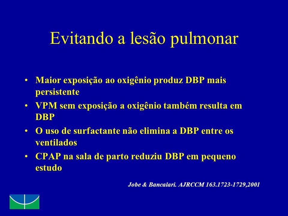 Evitando a lesão pulmonar Maior exposição ao oxigênio produz DBP mais persistente VPM sem exposição a oxigênio também resulta em DBP O uso de surfacta