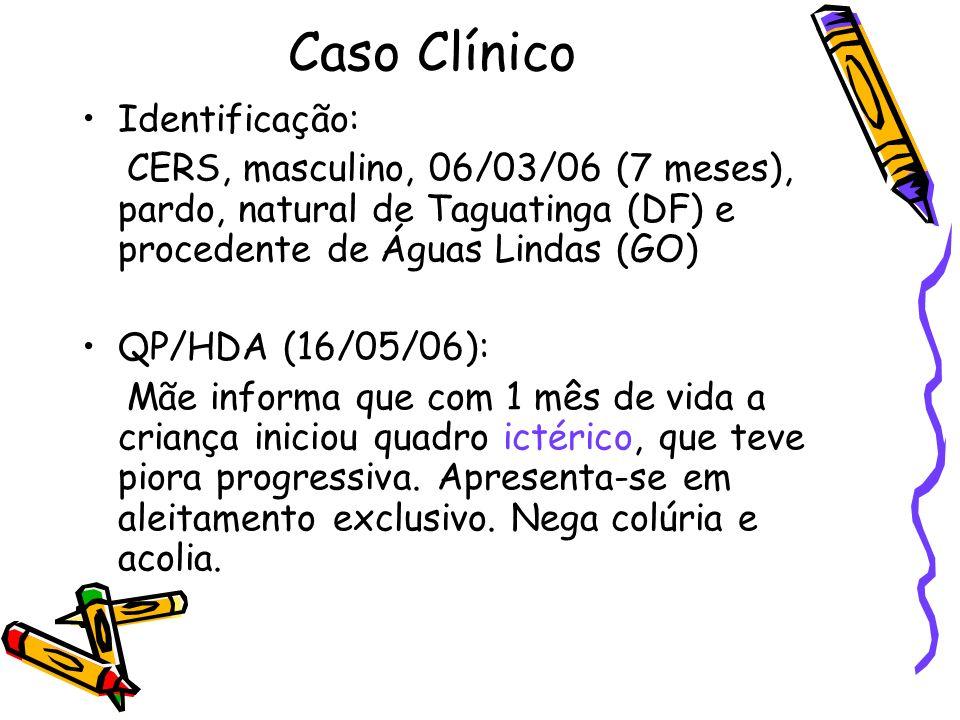 Caso Clínico 16/09/06 - Transferência para BOX: –Grave, taquipnéia leve, icterícia (4+/4+), edemaciado, FA aberta e normal –Face: edema (1+/4+) –AR: MVR, FR: 44 irpm –ACV: RCR, 2T, ss 1+/4+, FC: 124 bpm –Abd: globoso, edema de parede, hérnia umbilical, fígado 4 cm, baço 6 cm, s/ massas, RHA+, ascite.