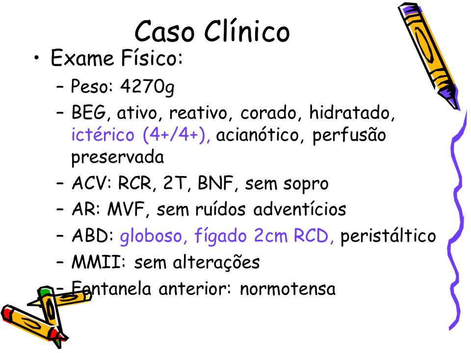 Caso Clínico Exame Físico: –Peso: 4270g –BEG, ativo, reativo, corado, hidratado, ictérico (4+/4+), acianótico, perfusão preservada –ACV: RCR, 2T, BNF,