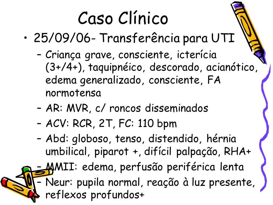 Caso Clínico 25/09/06- Transferência para UTI –Criança grave, consciente, icterícia (3+/4+), taquipnéico, descorado, acianótico, edema generalizado, c