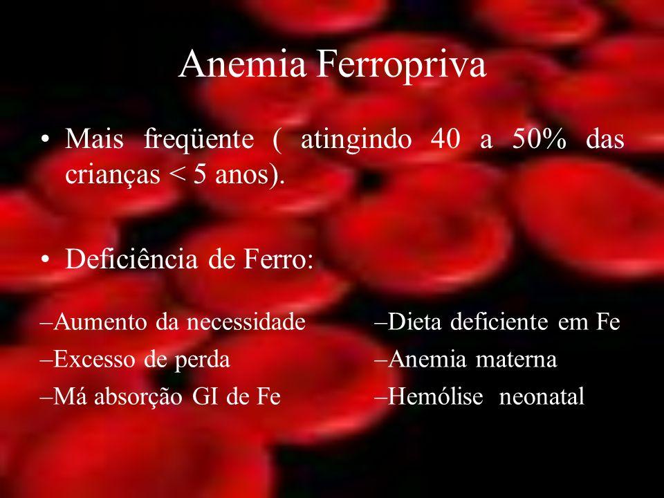 Anemia Ferropriva Mais freqüente ( atingindo 40 a 50% das crianças < 5 anos). Deficiência de Ferro: –Aumento da necessidade –Excesso de perda –Má abso