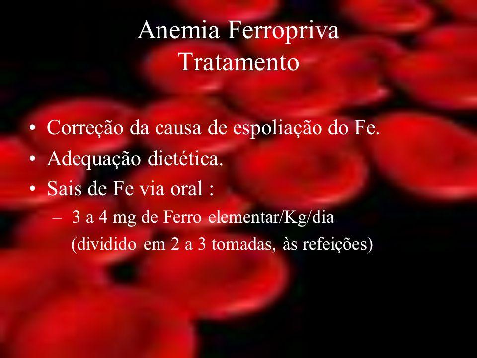 Anemia Ferropriva Tratamento Correção da causa de espoliação do Fe. Adequação dietética. Sais de Fe via oral : – 3 a 4 mg de Ferro elementar/Kg/dia (d
